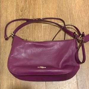 Plum leather coach bag